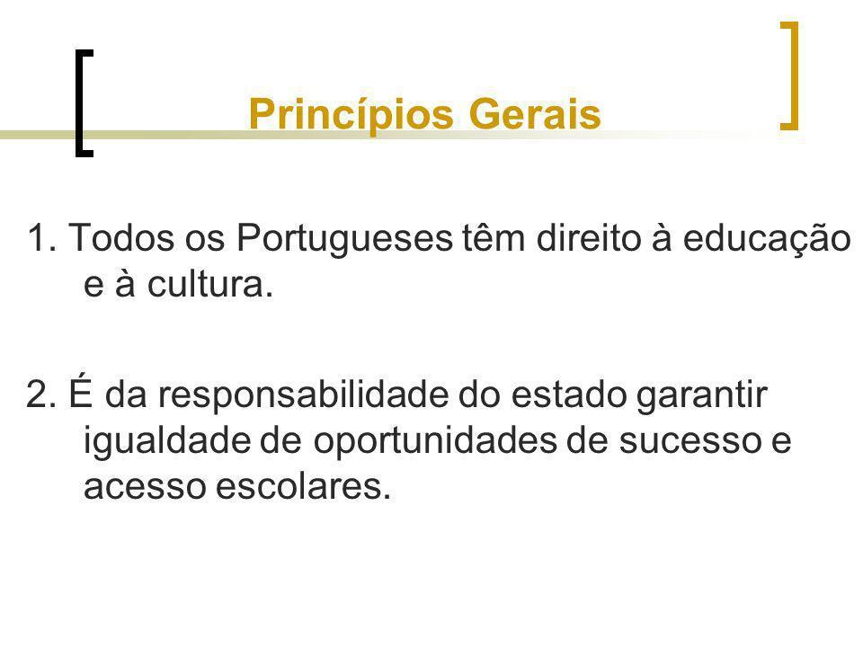 Princípios Gerais 1. Todos os Portugueses têm direito à educação e à cultura. 2. É da responsabilidade do estado garantir igualdade de oportunidades d