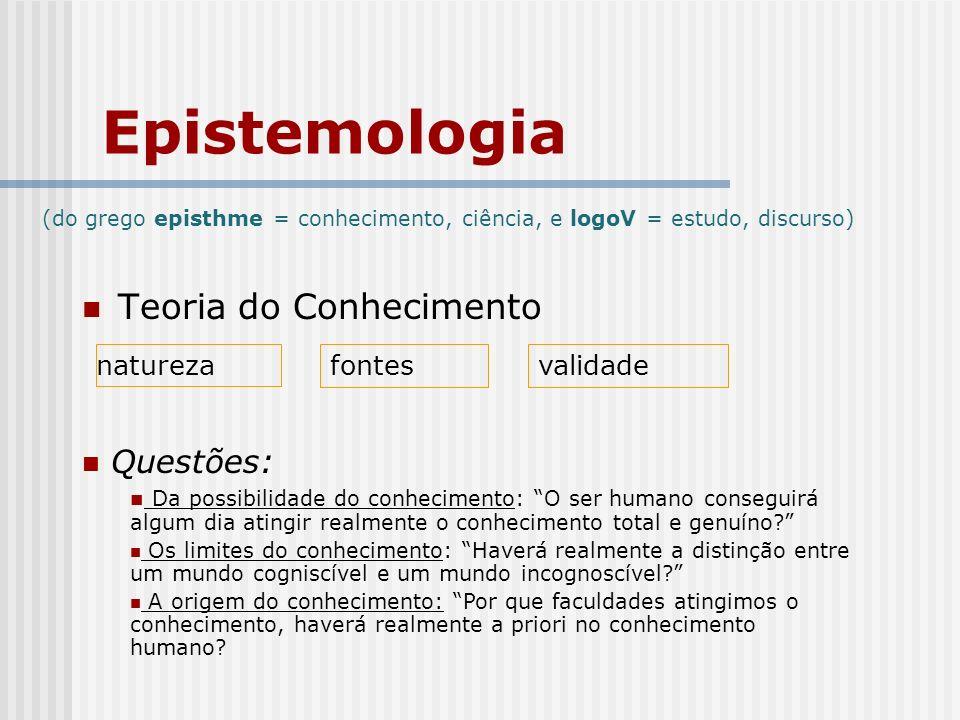 Epistemologia Teoria do Conhecimento naturezafontesvalidade Questões: Da possibilidade do conhecimento: O ser humano conseguirá algum dia atingir realmente o conhecimento total e genuíno.