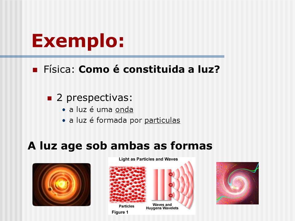 Exemplo: Física: Como é constituida a luz? 2 prespectivas: a luz é uma onda a luz é formada por particulas A luz age sob ambas as formas