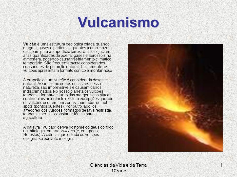 Ciências da Vida e da Terra 10ºano 1 Vulcanismo Vulcão é uma estrutura geológica criada quando magma, gases e partículas quentes (como cinzas) escapam