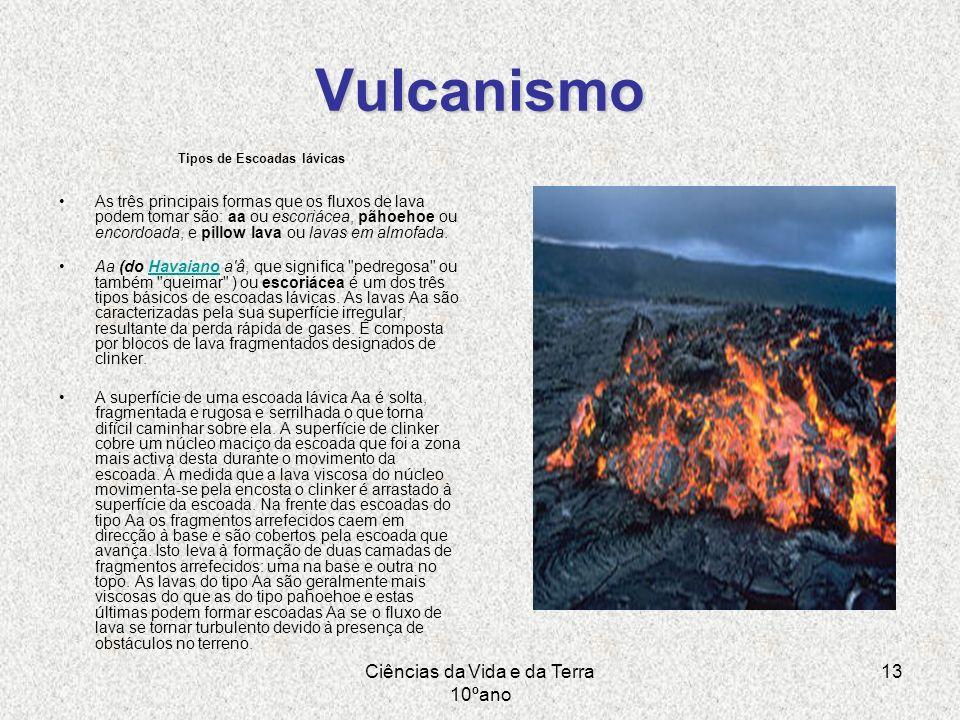 Ciências da Vida e da Terra 10ºano 13 Vulcanismo Tipos de Escoadas lávicas As três principais formas que os fluxos de lava podem tomar são: aa ou esco