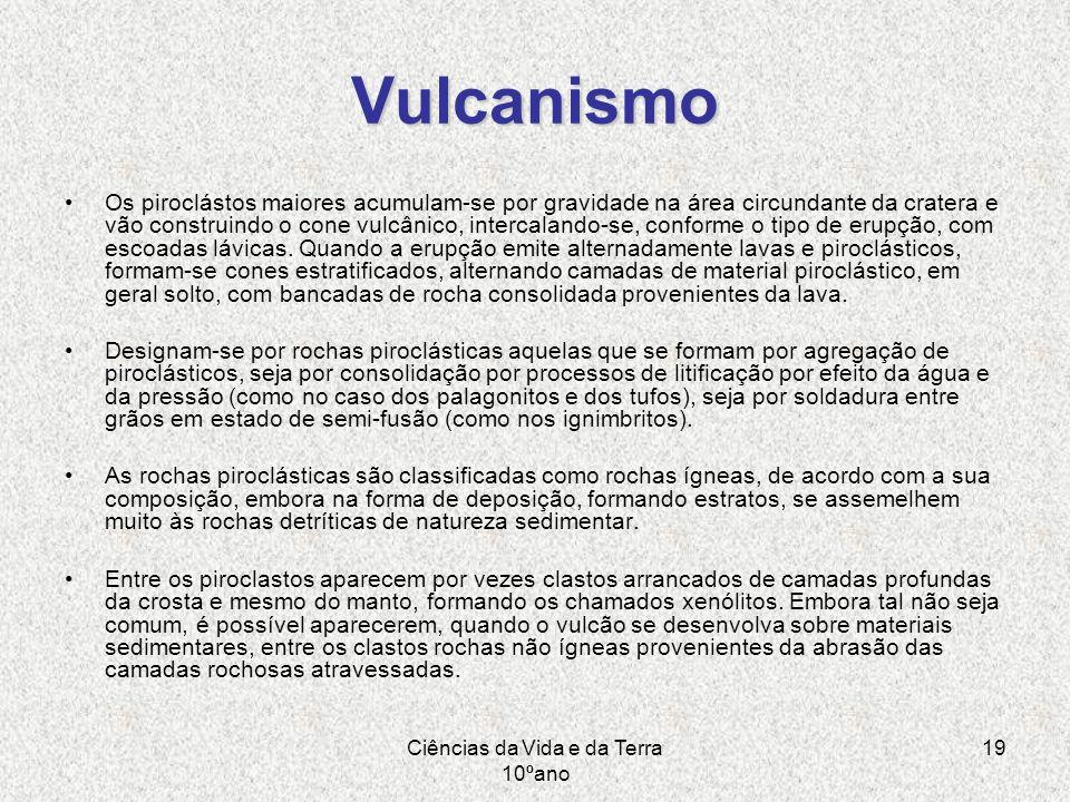 Ciências da Vida e da Terra 10ºano 19 Vulcanismo Os piroclástos maiores acumulam-se por gravidade na área circundante da cratera e vão construindo o c