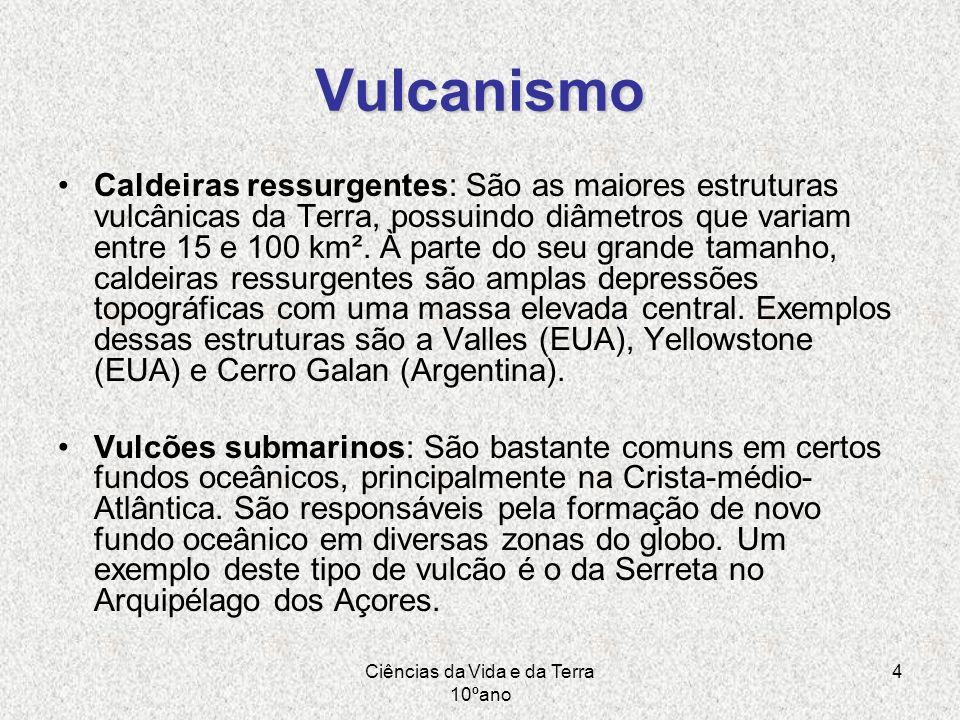 Ciências da Vida e da Terra 10ºano 4 Vulcanismo Caldeiras ressurgentes: São as maiores estruturas vulcânicas da Terra, possuindo diâmetros que variam