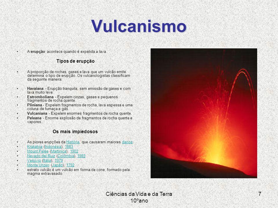 Ciências da Vida e da Terra 10ºano 7 Vulcanismo A erupção acontece quando é expelida a lava. Tipos de erupção A proporção de rochas, gases e lava que