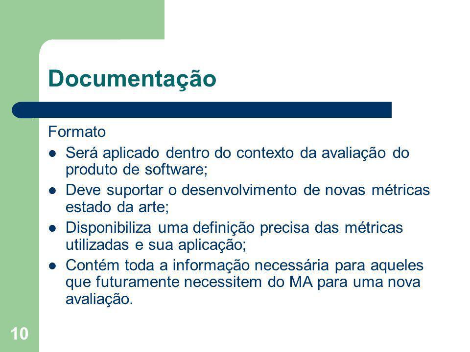 10 Documentação Formato Será aplicado dentro do contexto da avaliação do produto de software; Deve suportar o desenvolvimento de novas métricas estado
