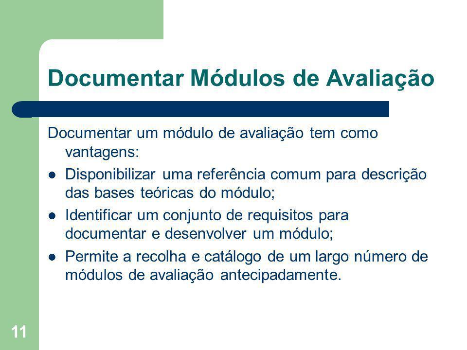 11 Documentar Módulos de Avaliação Documentar um módulo de avaliação tem como vantagens: Disponibilizar uma referência comum para descrição das bases