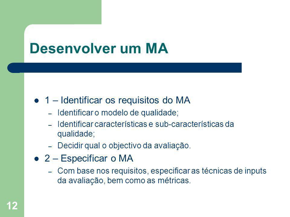 12 Desenvolver um MA 1 – Identificar os requisitos do MA – Identificar o modelo de qualidade; – Identificar características e sub-características da q