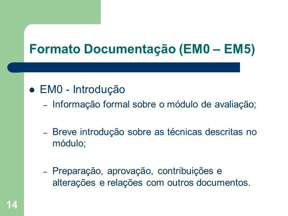 14 Formato Documentação (EM0 – EM5) EM0 - Introdução – Informação formal sobre o módulo de avaliação; – Breve introdução sobre as técnicas descritas n
