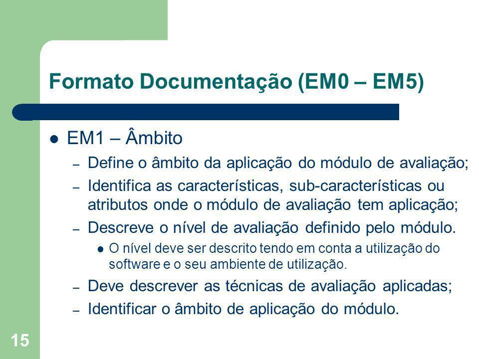 15 Formato Documentação (EM0 – EM5) EM1 – Âmbito – Define o âmbito da aplicação do módulo de avaliação; – Identifica as características, sub-caracterí