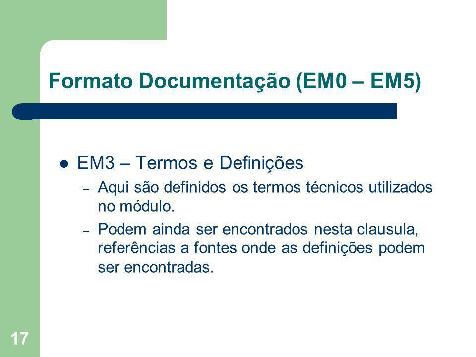 17 EM3 – Termos e Definições – Aqui são definidos os termos técnicos utilizados no módulo. – Podem ainda ser encontrados nesta clausula, referências a
