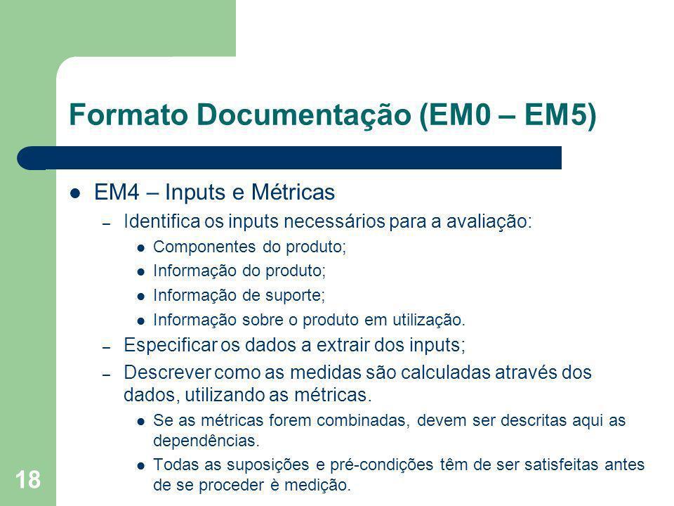 18 Formato Documentação (EM0 – EM5) EM4 – Inputs e Métricas – Identifica os inputs necessários para a avaliação: Componentes do produto; Informação do