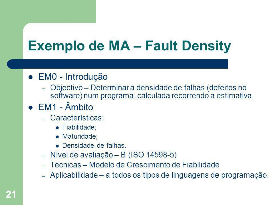21 Exemplo de MA – Fault Density EM0 - Introdução – Objectivo – Determinar a densidade de falhas (defeitos no software) num programa, calculada recorr