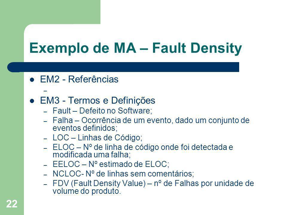 22 Exemplo de MA – Fault Density EM2 - Referências – EM3 - Termos e Definições – Fault – Defeito no Software; – Falha – Ocorrência de um evento, dado