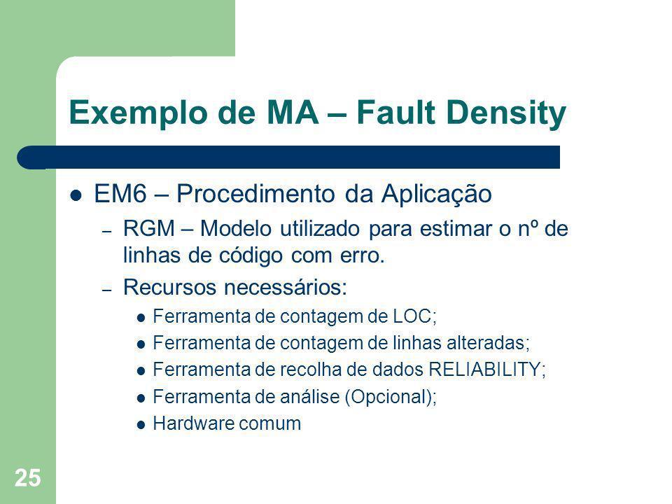 25 Exemplo de MA – Fault Density EM6 – Procedimento da Aplicação – RGM – Modelo utilizado para estimar o nº de linhas de código com erro. – Recursos n