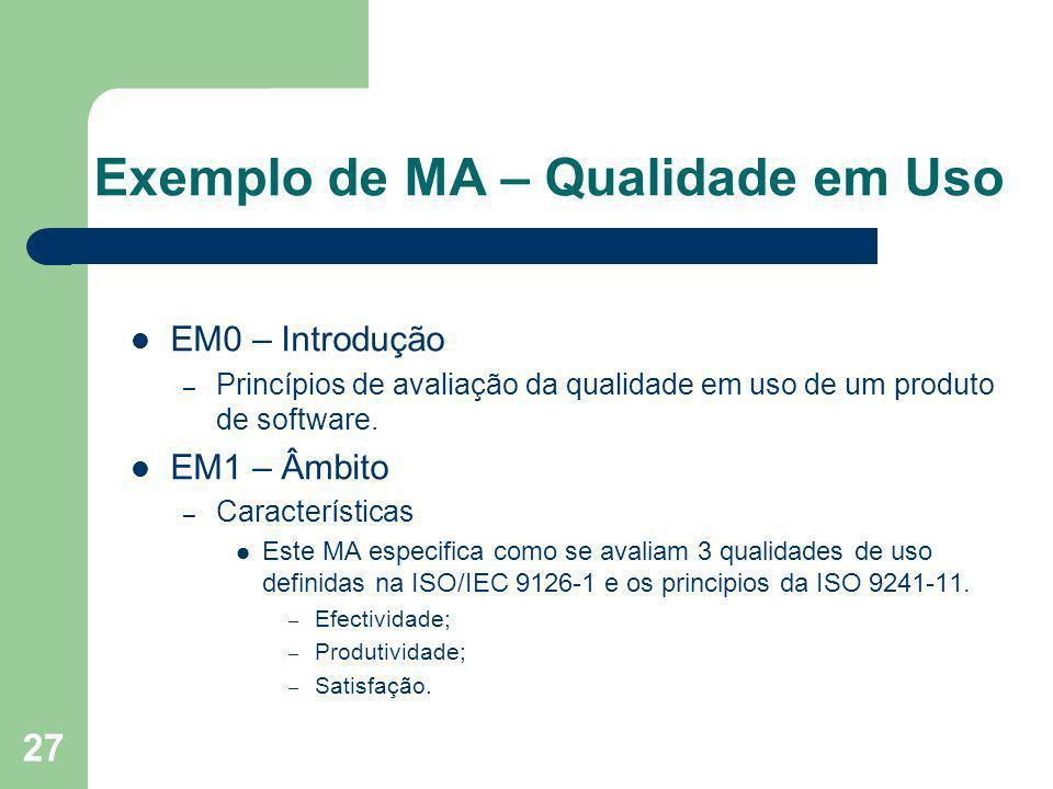 27 Exemplo de MA – Qualidade em Uso EM0 – Introdução – Princípios de avaliação da qualidade em uso de um produto de software. EM1 – Âmbito – Caracterí