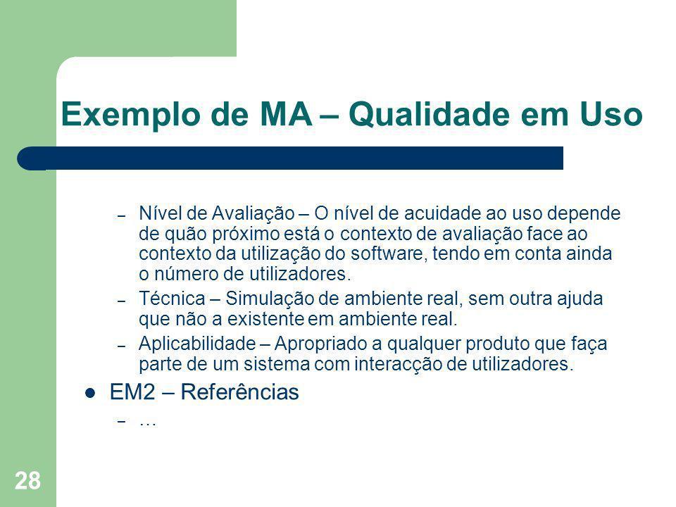 28 Exemplo de MA – Qualidade em Uso – Nível de Avaliação – O nível de acuidade ao uso depende de quão próximo está o contexto de avaliação face ao con