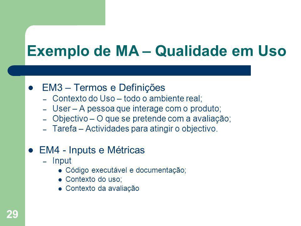 29 Exemplo de MA – Qualidade em Uso EM3 – Termos e Definições – Contexto do Uso – todo o ambiente real; – User – A pessoa que interage com o produto;