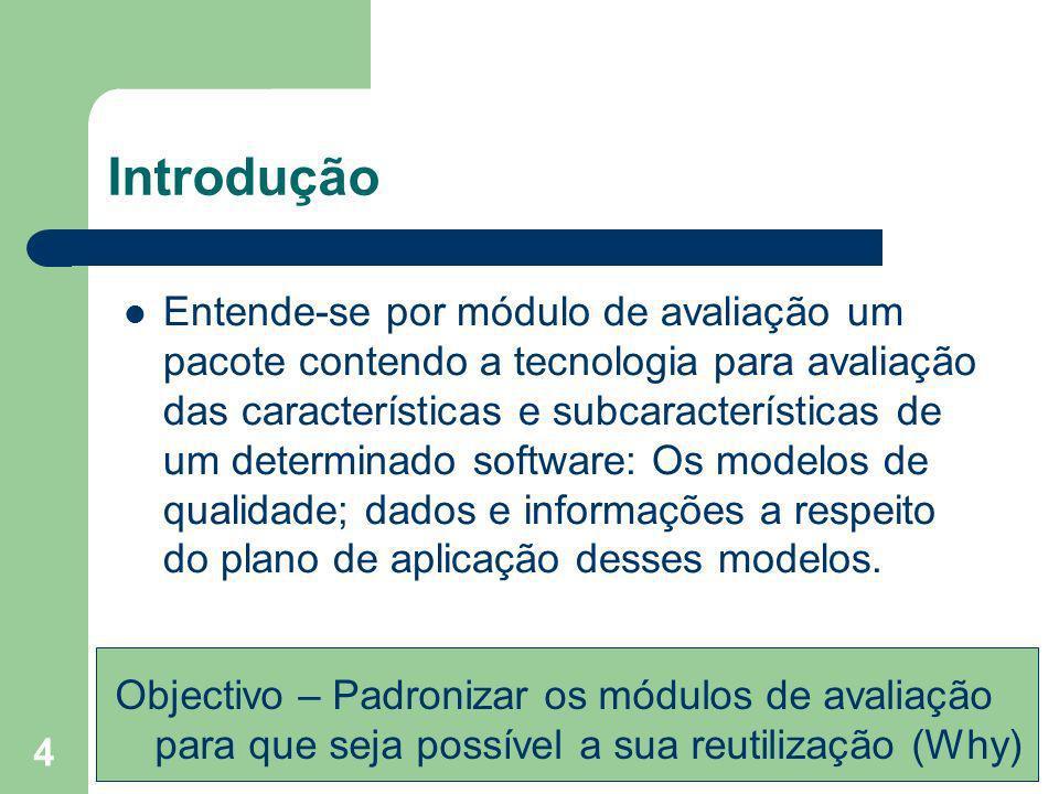 4 Introdução Entende-se por módulo de avaliação um pacote contendo a tecnologia para avaliação das características e subcaracterísticas de um determin