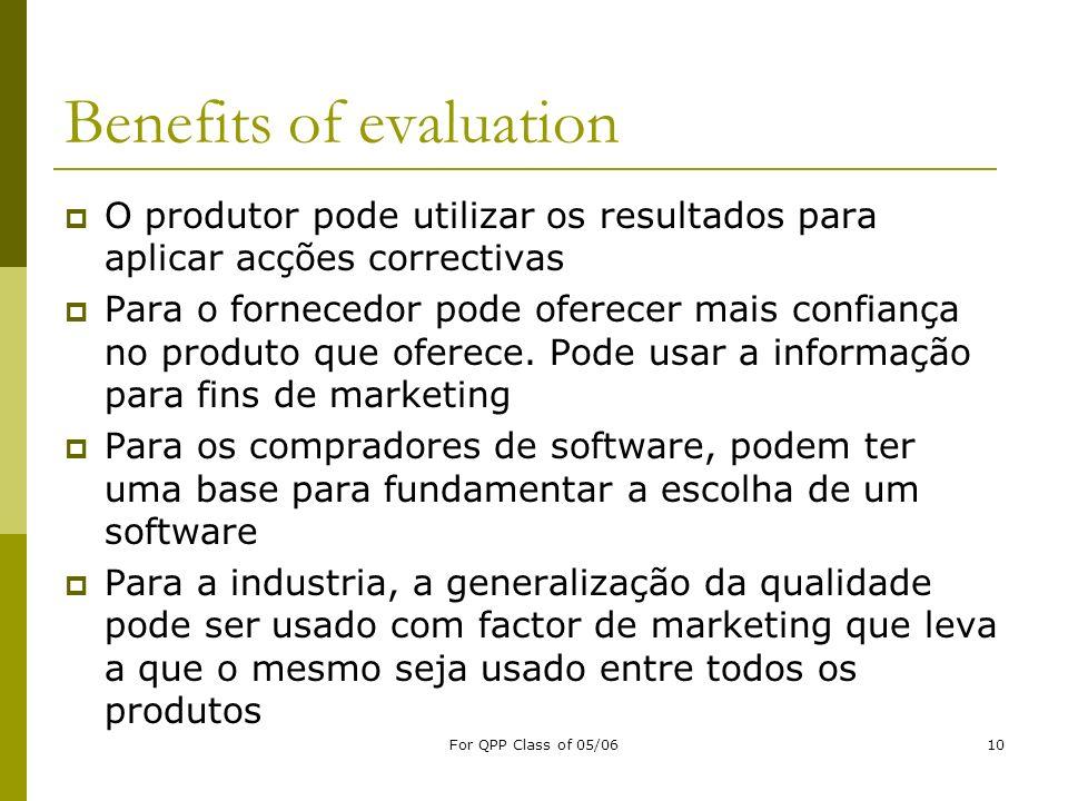 For QPP Class of 05/0610 Benefits of evaluation O produtor pode utilizar os resultados para aplicar acções correctivas Para o fornecedor pode oferecer