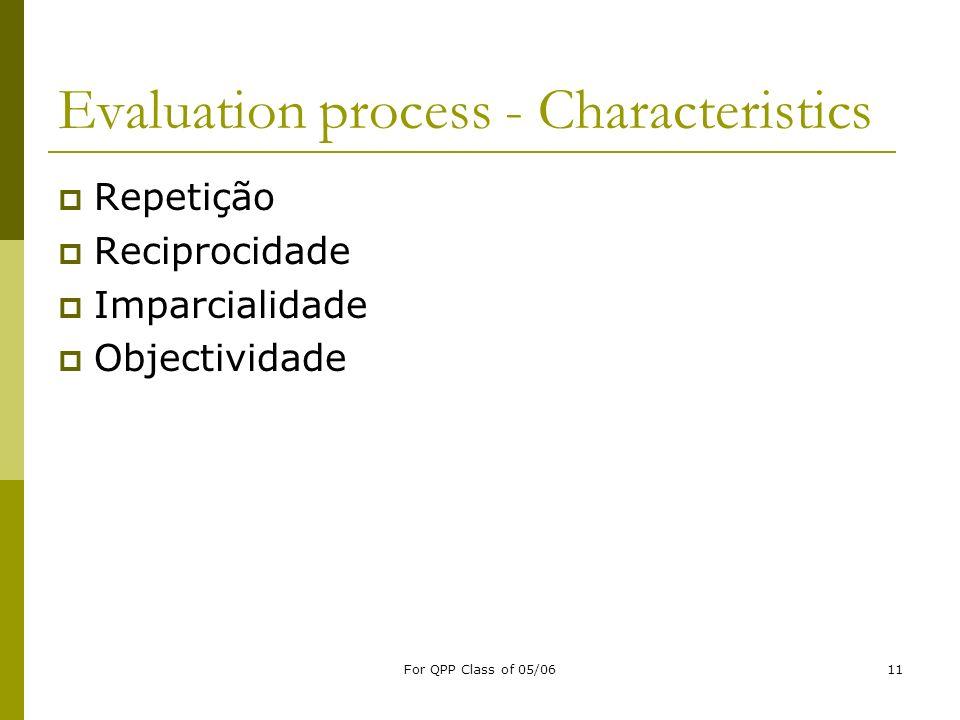 For QPP Class of 05/0611 Evaluation process - Characteristics Repetição Reciprocidade Imparcialidade Objectividade
