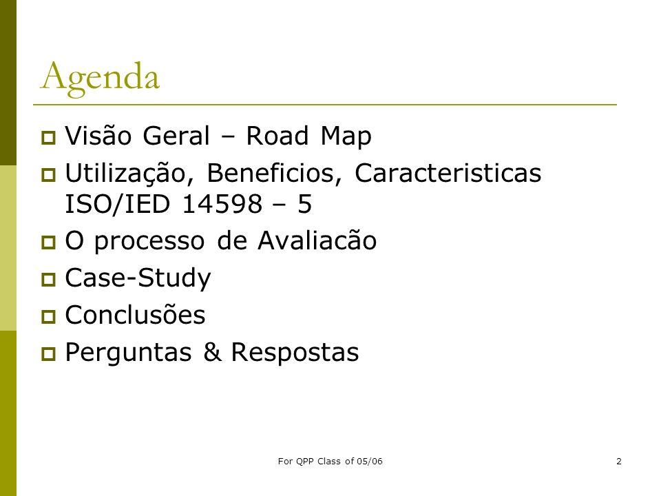 For QPP Class of 05/062 Agenda Visão Geral – Road Map Utilização, Beneficios, Caracteristicas ISO/IED 14598 – 5 O processo de Avaliacão Case-Study Con