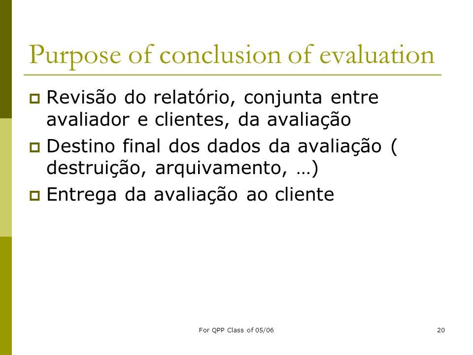 For QPP Class of 05/0620 Purpose of conclusion of evaluation Revisão do relatório, conjunta entre avaliador e clientes, da avaliação Destino final dos