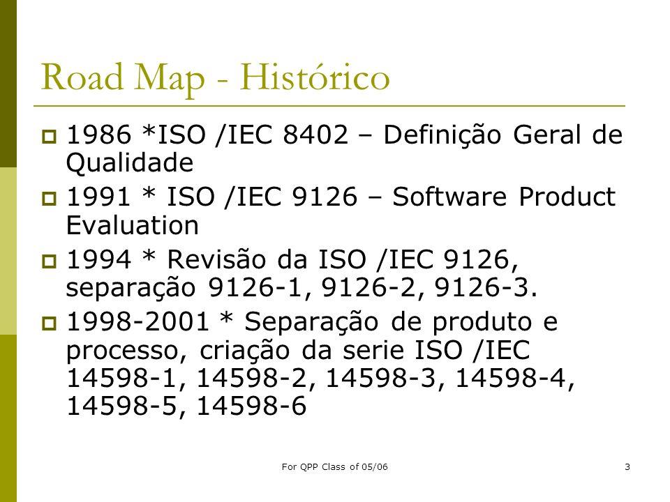For QPP Class of 05/063 Road Map - Histórico 1986 *ISO /IEC 8402 – Definição Geral de Qualidade 1991 * ISO /IEC 9126 – Software Product Evaluation 199