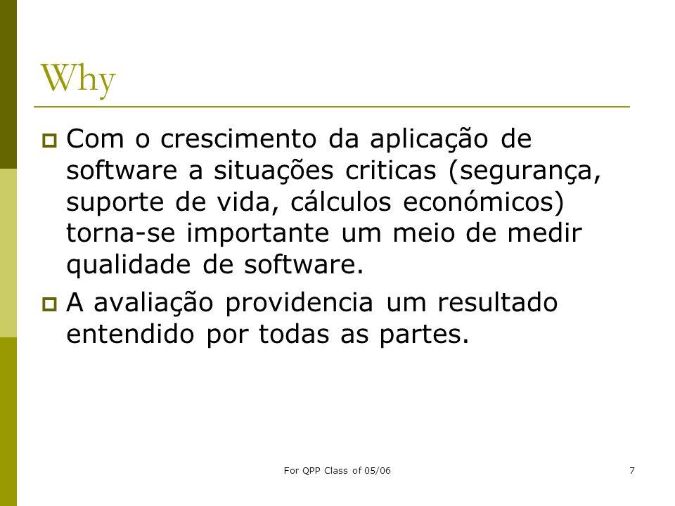 For QPP Class of 05/067 Why Com o crescimento da aplicação de software a situações criticas (segurança, suporte de vida, cálculos económicos) torna-se