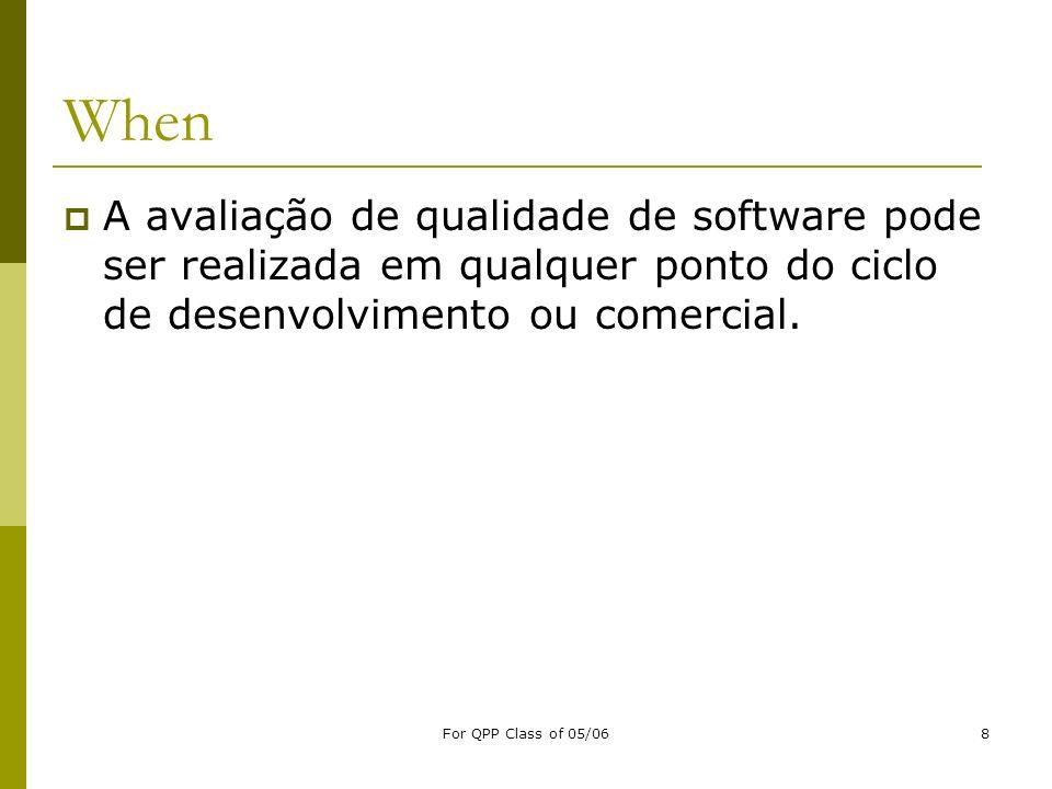 For QPP Class of 05/068 When A avaliação de qualidade de software pode ser realizada em qualquer ponto do ciclo de desenvolvimento ou comercial.