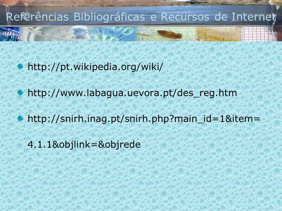 Referências Bibliográficas e Recursos de Internet http://pt.wikipedia.org/wiki/ http://www.labagua.uevora.pt/des_reg.htm http://snirh.inag.pt/snirh.ph