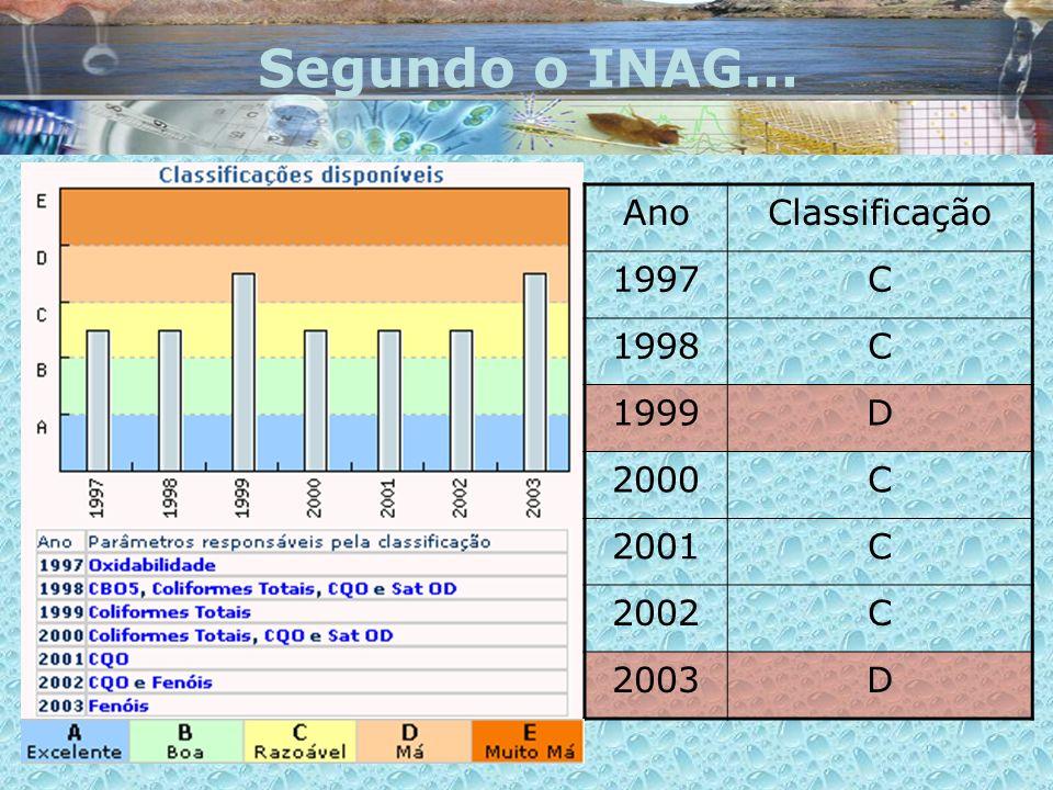 Segundo o INAG… AnoClassificação 1997C 1998C 1999D 2000C 2001C 2002C 2003D