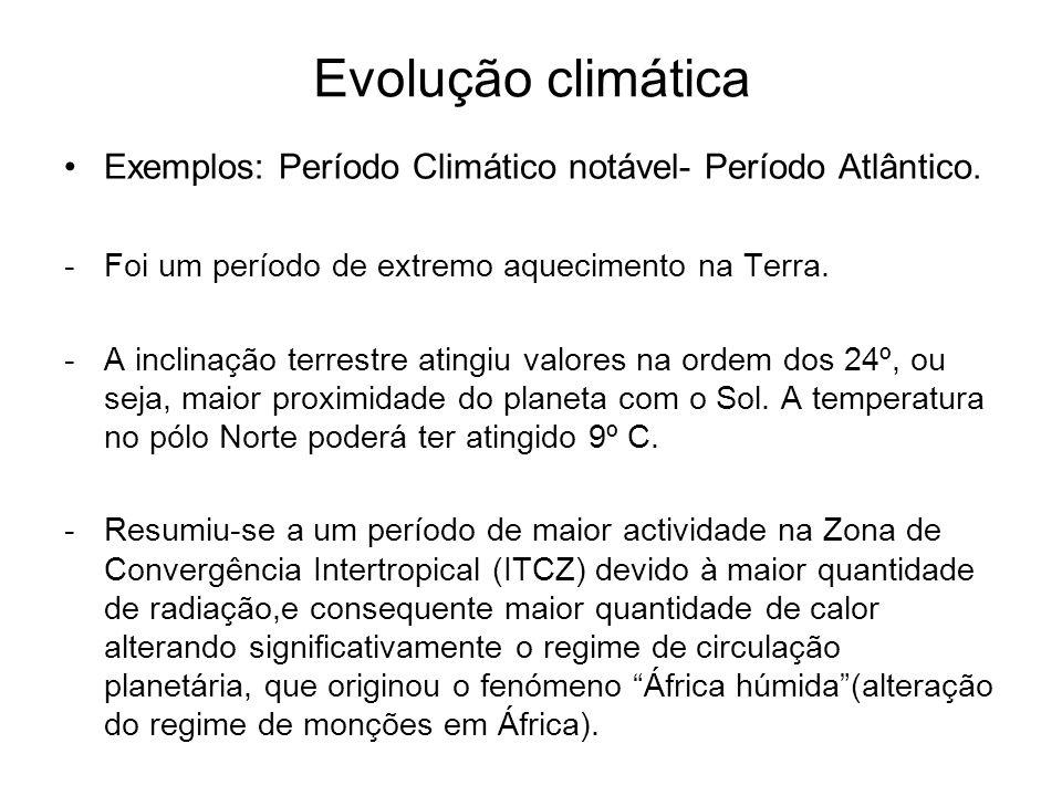 Evolução climática Exemplos: Período Climático notável- Período Atlântico. -Foi um período de extremo aquecimento na Terra. -A inclinação terrestre at