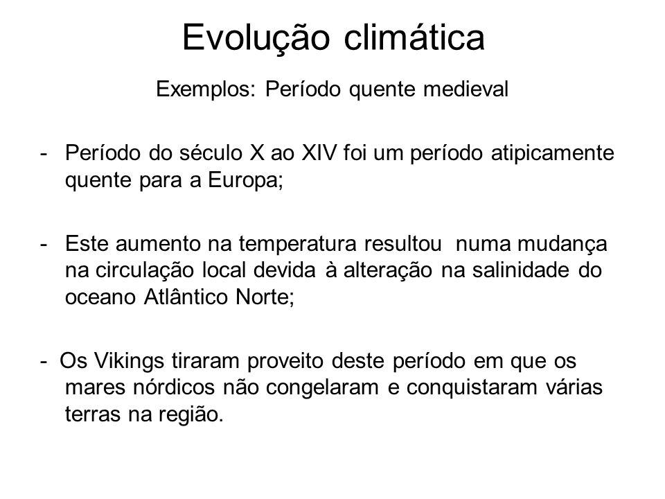 Evolução climática Exemplos: Período quente medieval -Período do século X ao XIV foi um período atipicamente quente para a Europa; -Este aumento na te