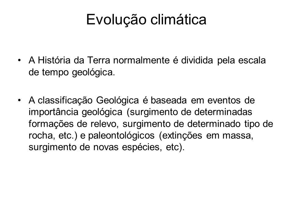 Evolução climática A História da Terra normalmente é dividida pela escala de tempo geológica. A classificação Geológica é baseada em eventos de import