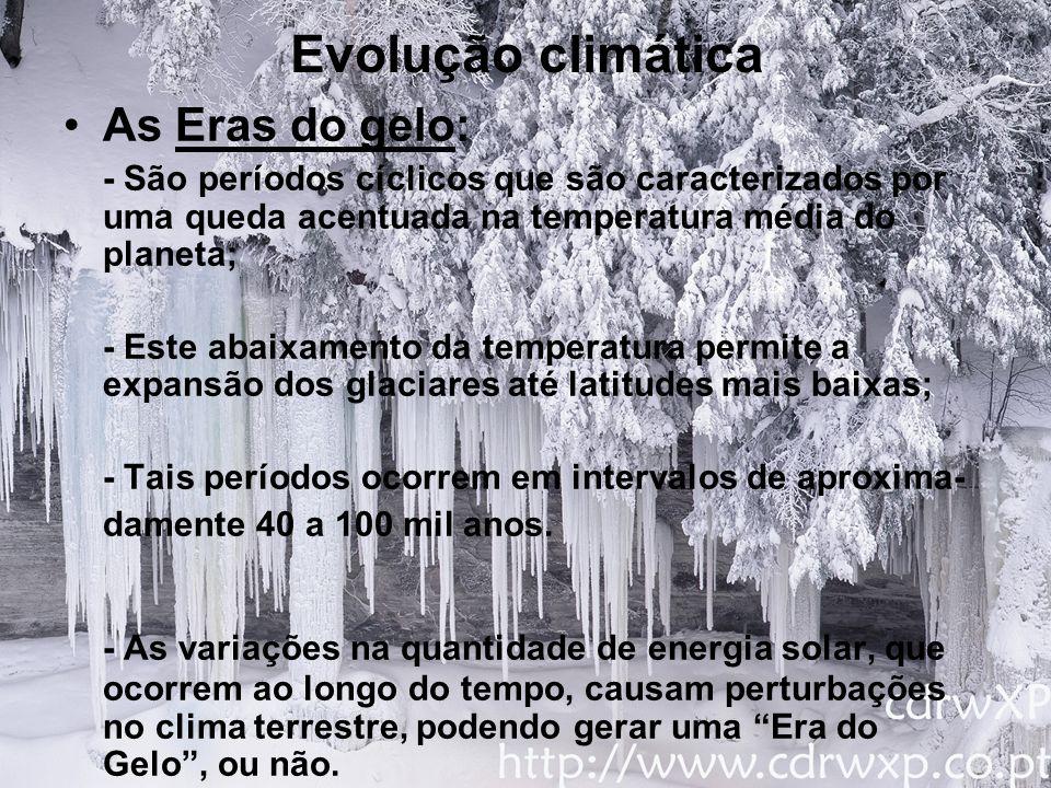 Evolução climática Exemplos: Snowball Earth (O Planeta Bola de Neve) -Ocorreu no período entre 750 e 580 milhões de anos atrás, uma Era do gelo de grandes proporções, em que quer continentes quer oceanos congelaram completamente.