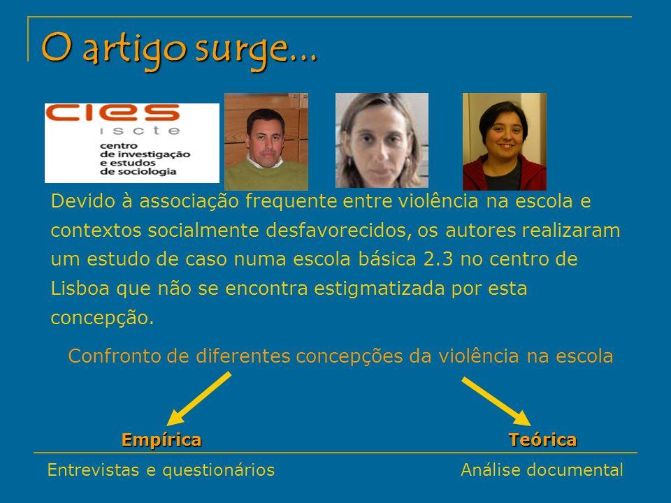 Desvio as regras de produção escolar Conflitos interpessoais Conflitos professor/aluno Amado (1998) Indisciplina Violência na Escola