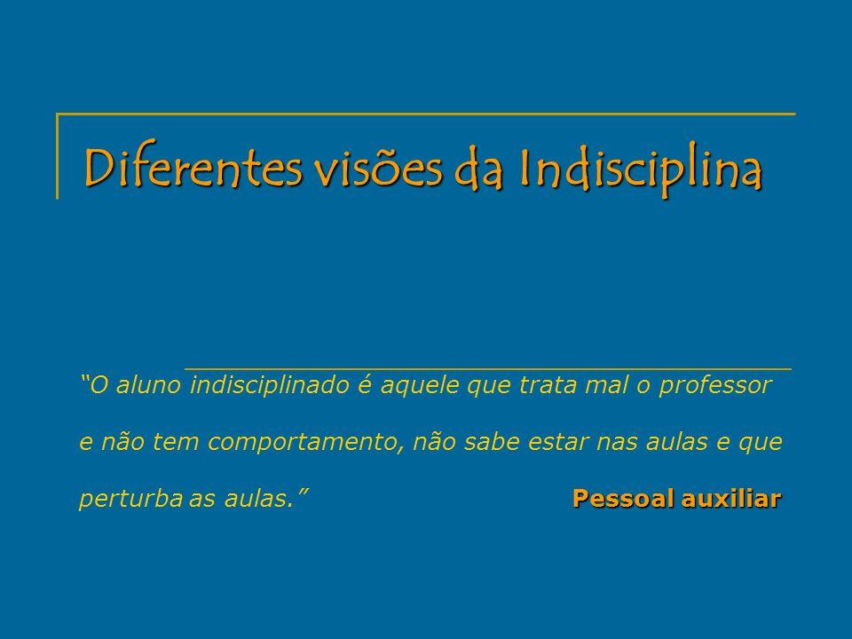 Diferentes visões da Indisciplina Pessoal auxiliar O aluno indisciplinado é aquele que trata mal o professor e não tem comportamento, não sabe estar n