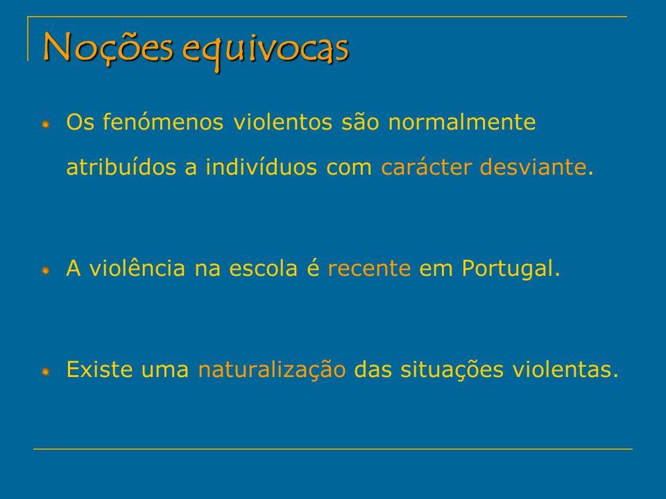 Noções equivocas Os fenómenos violentos são normalmente atribuídos a indivíduos com carácter desviante. A violência na escola é recente em Portugal. E