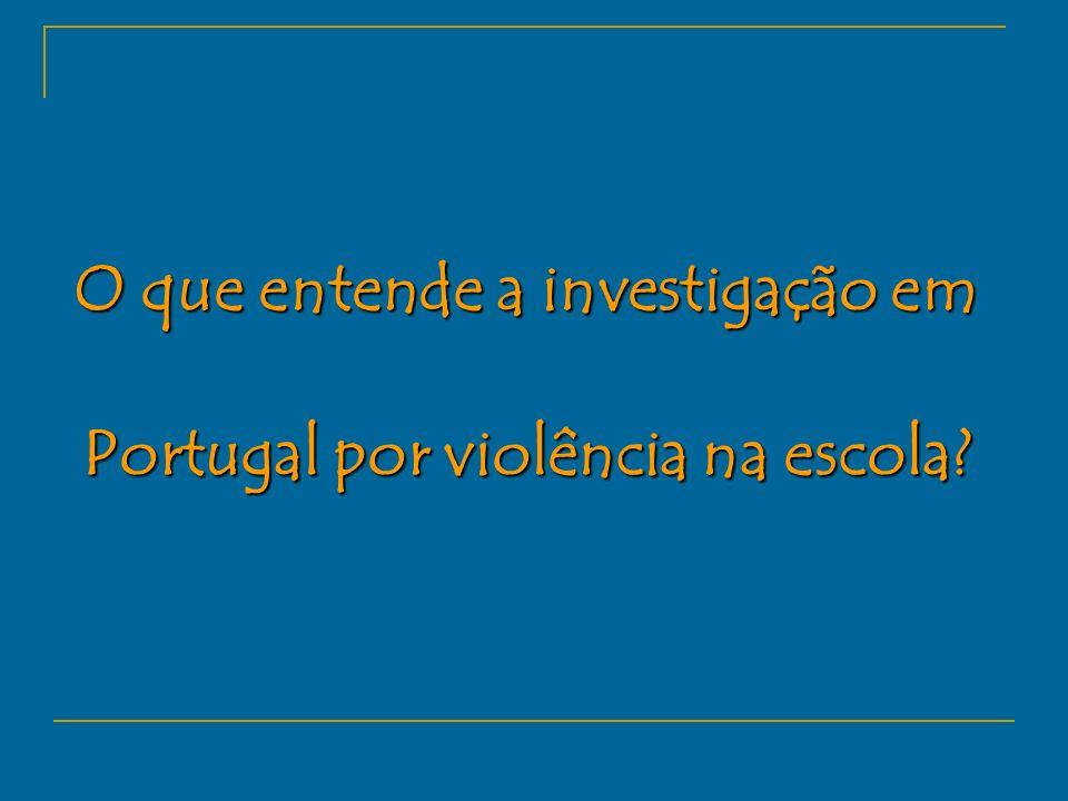 O que entende a investigação em Portugal por violência na escola?