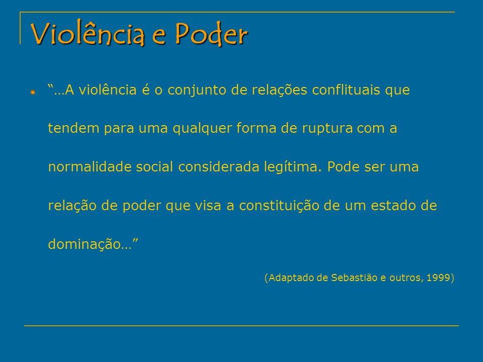 Violência e Poder …A violência é o conjunto de relações conflituais que tendem para uma qualquer forma de ruptura com a normalidade social considerada