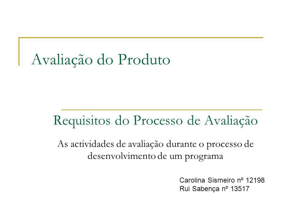 Avaliação do Produto Requisitos do Processo de Avaliação As actividades de avaliação durante o processo de desenvolvimento de um programa Carolina Sis