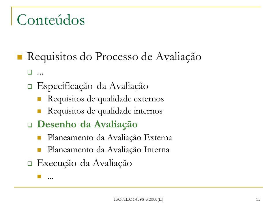 ISO/IEC 14598-3:2000(E) 15 Conteúdos Requisitos do Processo de Avaliação... Especificação da Avaliação Requisitos de qualidade externos Requisitos de