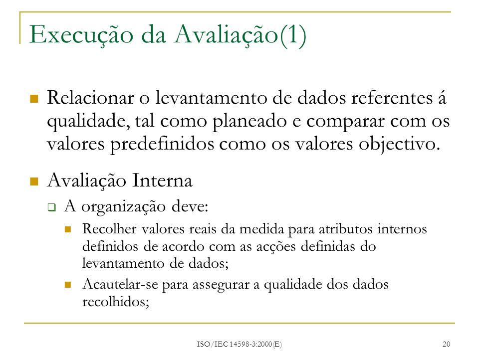 ISO/IEC 14598-3:2000(E) 20 Execução da Avaliação(1) Relacionar o levantamento de dados referentes á qualidade, tal como planeado e comparar com os val