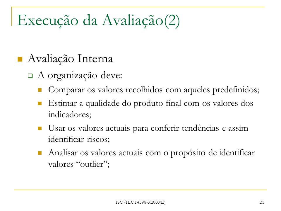 ISO/IEC 14598-3:2000(E) 21 Execução da Avaliação(2) Avaliação Interna A organização deve: Comparar os valores recolhidos com aqueles predefinidos; Est