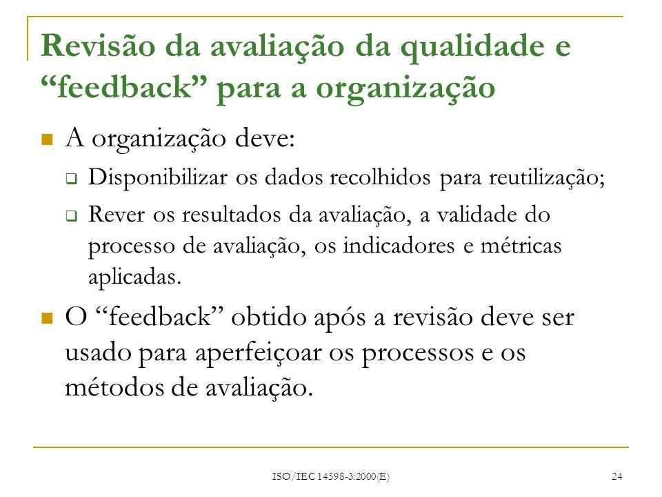 ISO/IEC 14598-3:2000(E) 24 Revisão da avaliação da qualidade e feedback para a organização A organização deve: Disponibilizar os dados recolhidos para