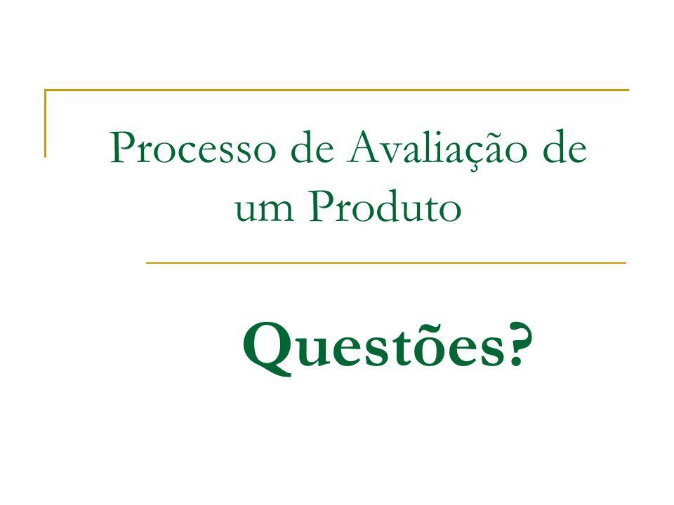 Processo de Avaliação d e um Produto Questões?