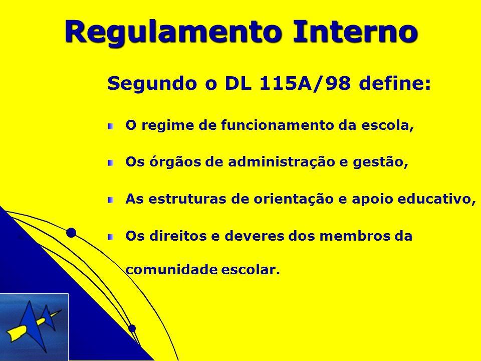 Regulamento Interno Segundo o DL 115A/98 define: O regime de funcionamento da escola, Os órgãos de administração e gestão, As estruturas de orientação