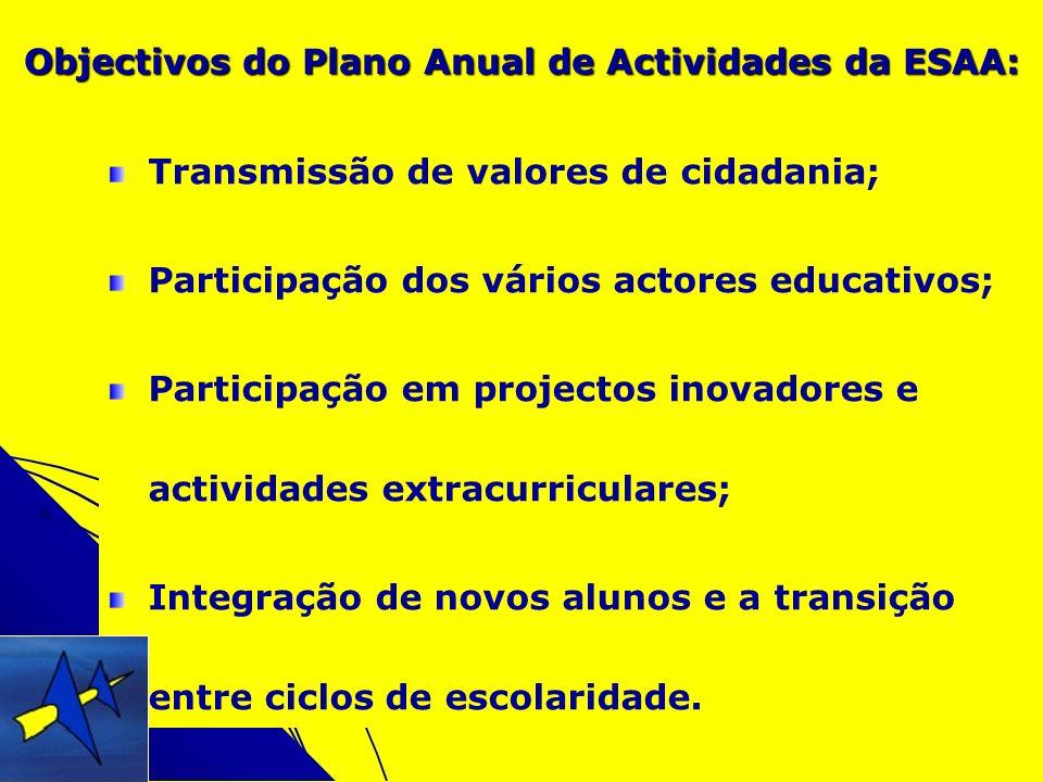 Objectivos do Plano Anual de Actividades da ESAA: Transmissão de valores de cidadania; Participação dos vários actores educativos; Participação em pro