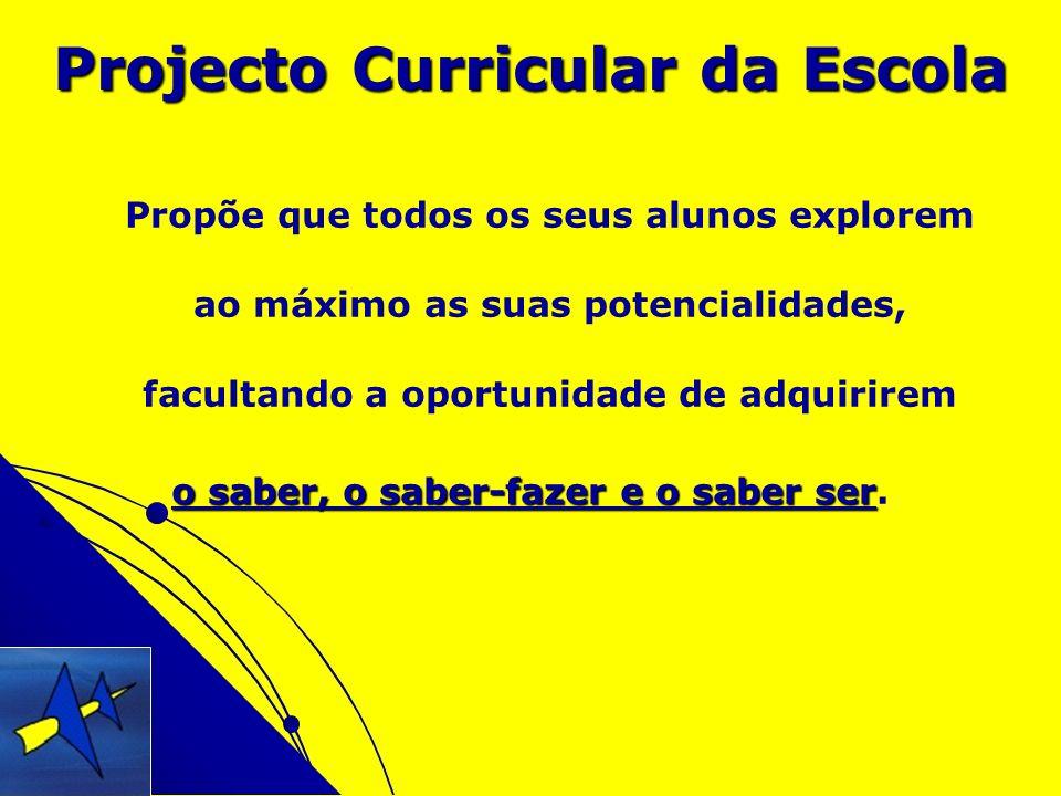 Projecto Curricular da Escola Propõe que todos os seus alunos explorem ao máximo as suas potencialidades, facultando a oportunidade de adquirirem o sa
