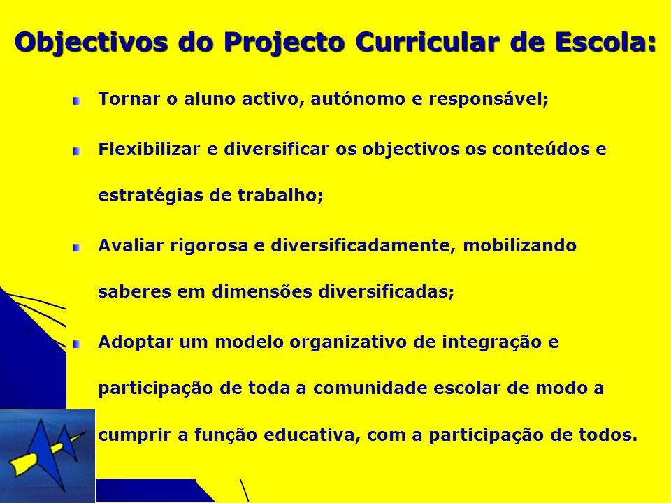 Objectivos do Projecto Curricular de Escola: Tornar o aluno activo, autónomo e responsável; Flexibilizar e diversificar os objectivos os conteúdos e e
